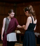 'This blood within thy veins came out of mine': Cleopatra must part from her son, Caesario, played by Emily Stiff